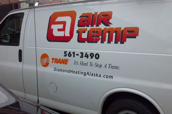 Vinyl Logo & Letters on Air Temp Van